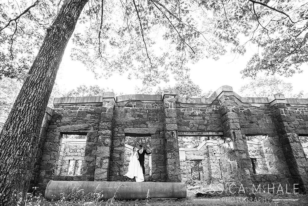 granite links wedding ruins black and white