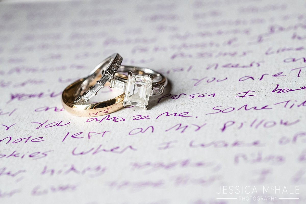 rings on hand written vows