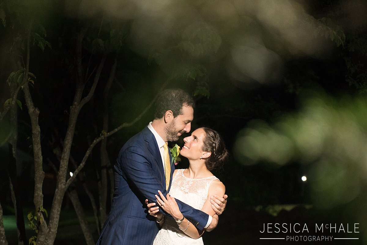 warren conference center wedding nighttime photo