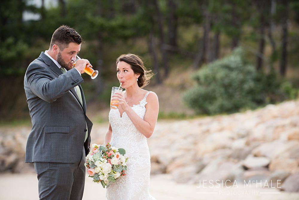 wellfleet beach wedding newlyweds