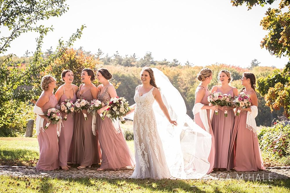 bride and bridesmaids fall sunshine