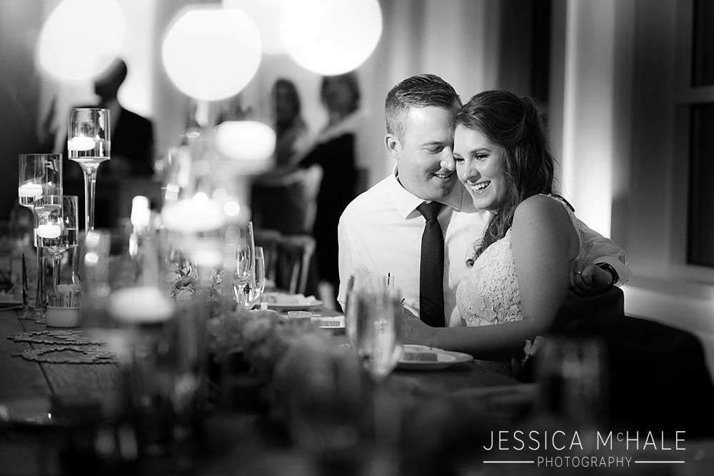 Lakeview Pavilion wedding nighttime black and white bride and groom