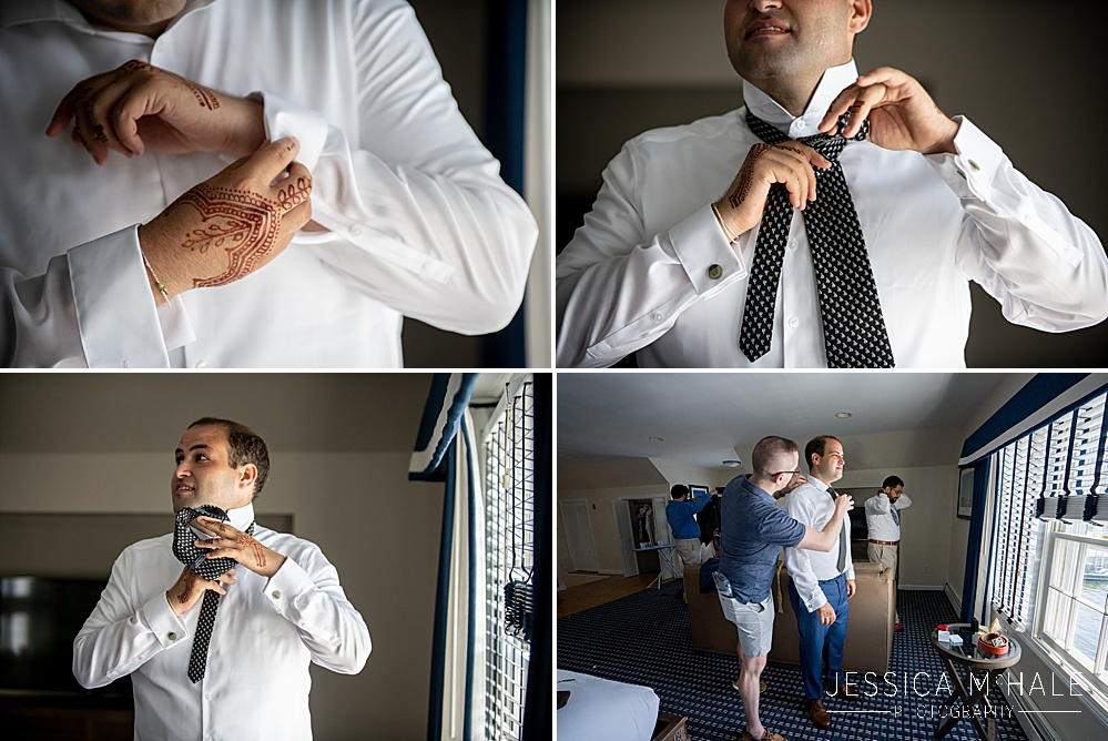Grooms details getting ready for a wedding in Newport, RI