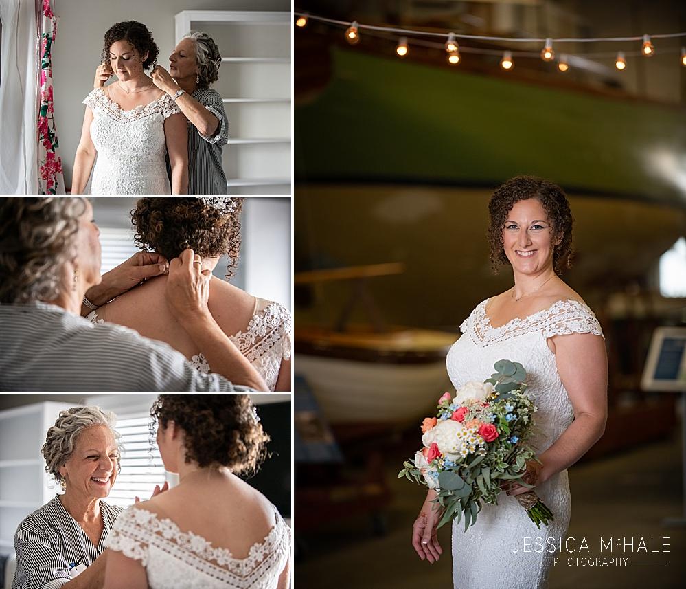 Bride getting ready for her Herreshoff Maritime Museum Wedding