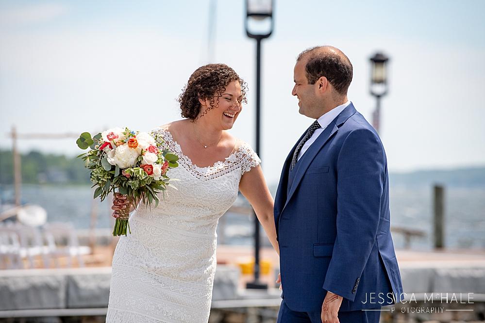 Bride and groom first look at their Herreshoff Maritime Museum Wedding in Bristol, RI
