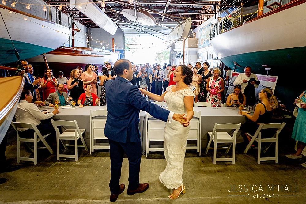 Herreshoff Maritime Museum Wedding dancing before a ketubah signing in the museum