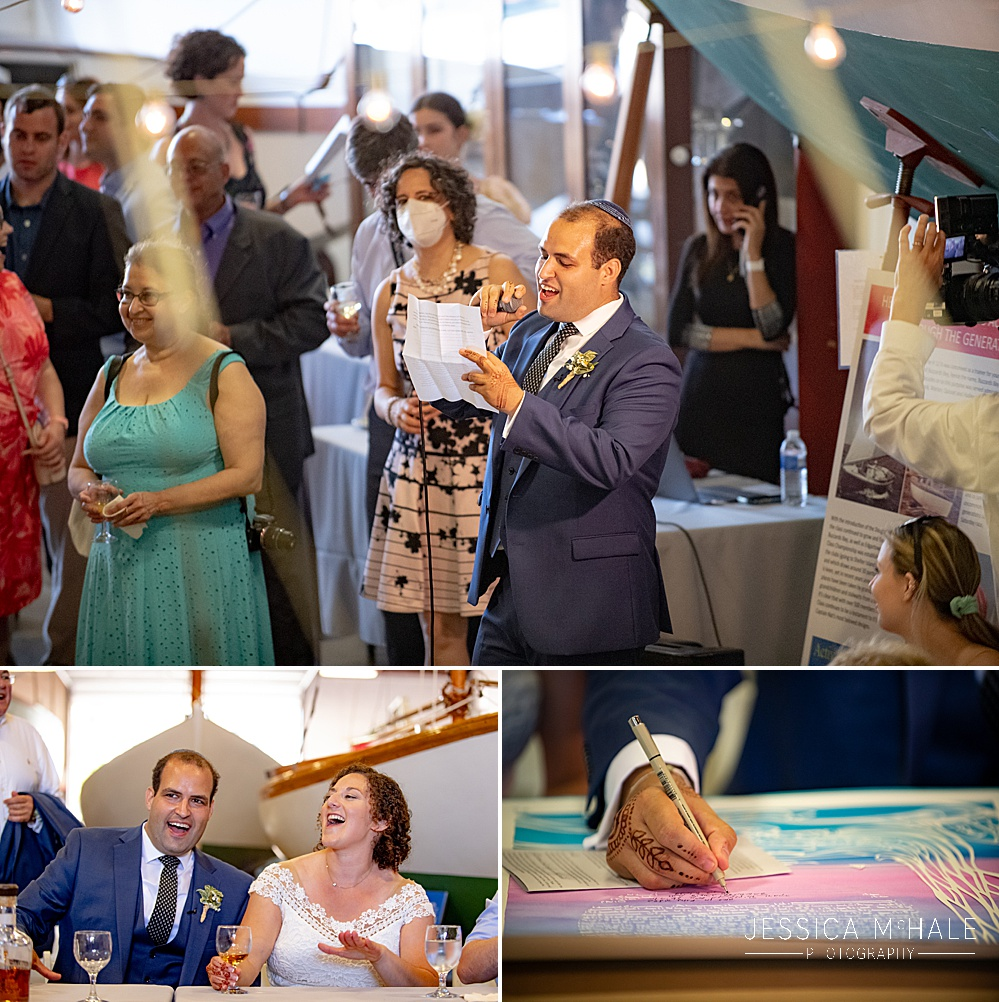 groom gives a toast at his Herreshoff Maritime Museum Wedding