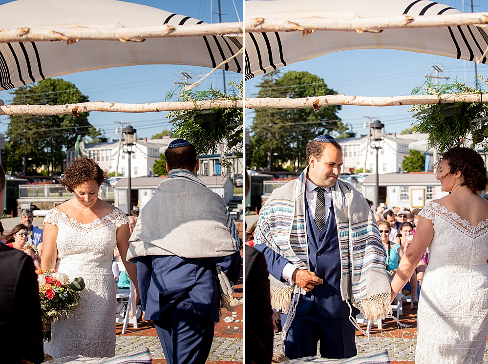 Jewish bride and groom at Herreshoff Maritime Museum Wedding