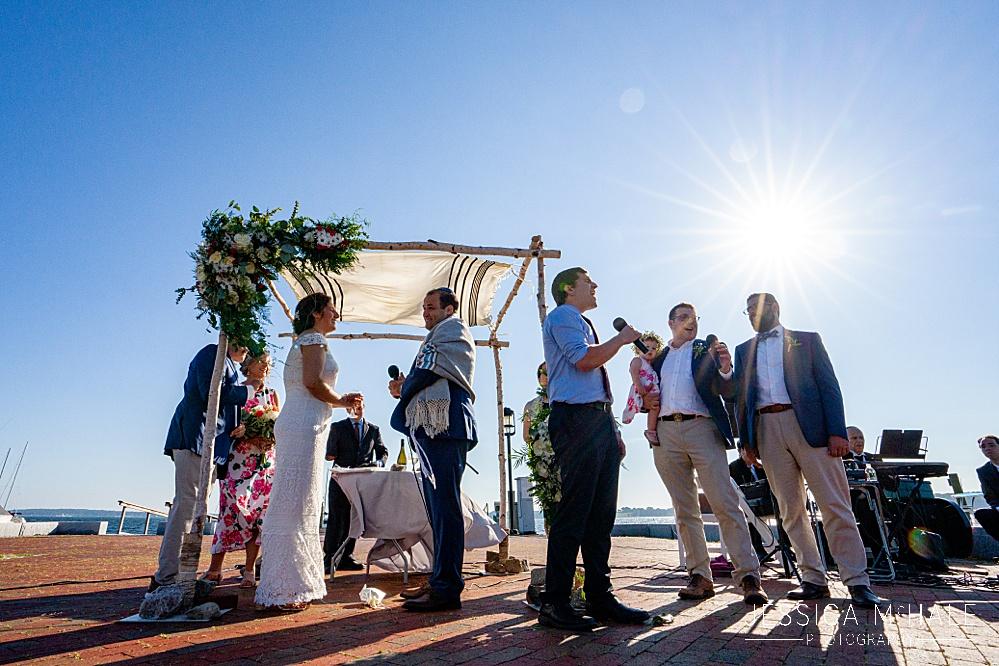 Herreshoff Maritime Museum Jewish wedding ceremony on the dock