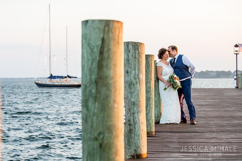 Herreshoff Maritime Museum Wedding bride and groom at sunset