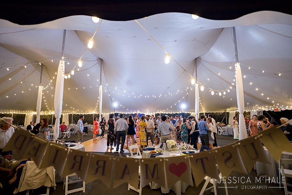 Herreshoff Maritime Museum Wedding tent reception with Just married sign
