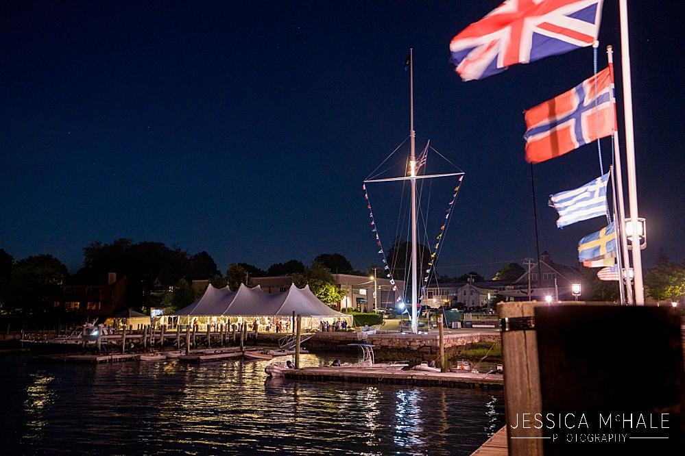 Herreshoff Maritime Museum Wedding tent at night on the water