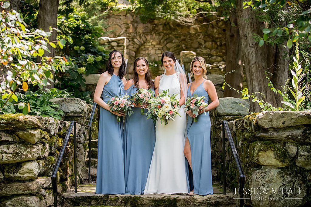 bridesmaids st cecilias garden at Connors Center wedding dover ma