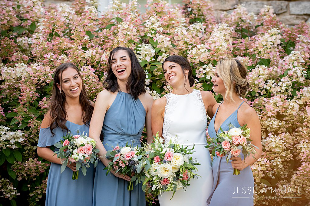 bridesmaids near hydrangea bushes connors center dover ma wedding