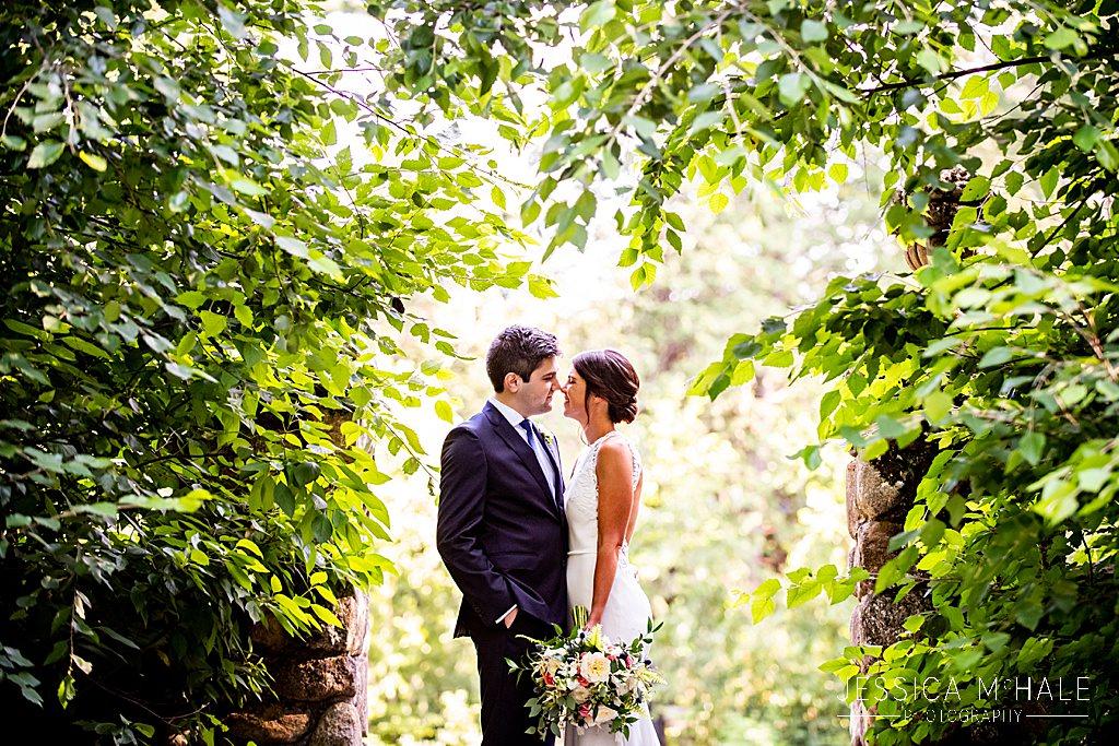 green leaves wedding portrait