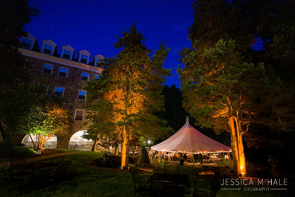 connors center tented wedding reception at night